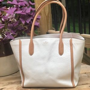 White Pebbled Leather - Kate Spade Tote